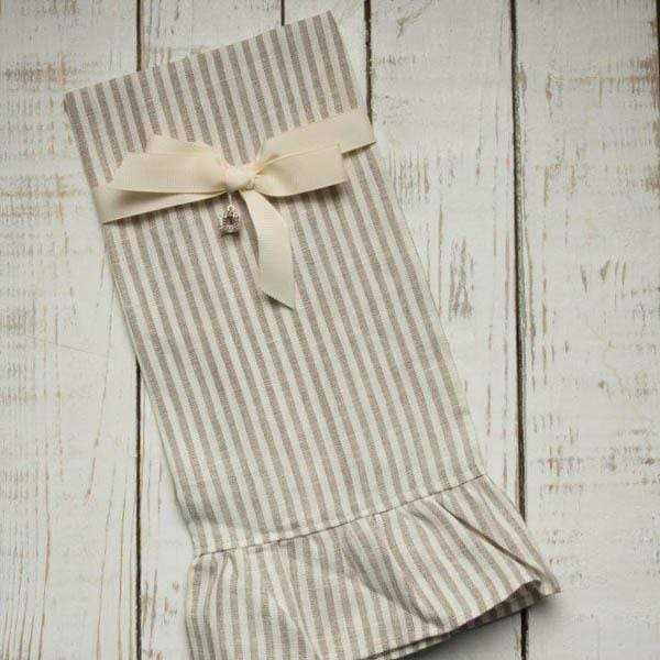 Crown Linen Designs Towels Flax Stripe Stripe Linen Ruffle Towel