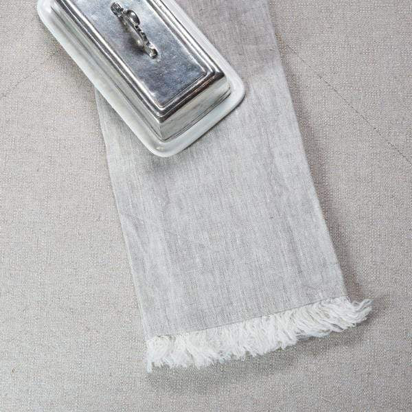 Crown Linen Designs Towels Natural Tuscan Linen Towel with Fringe