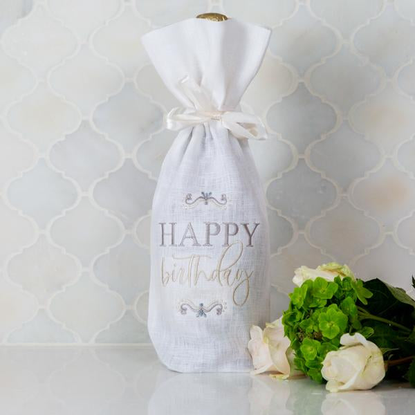 Crown Linen Designs Wine Bag, Happy Birthday, White (Multi)