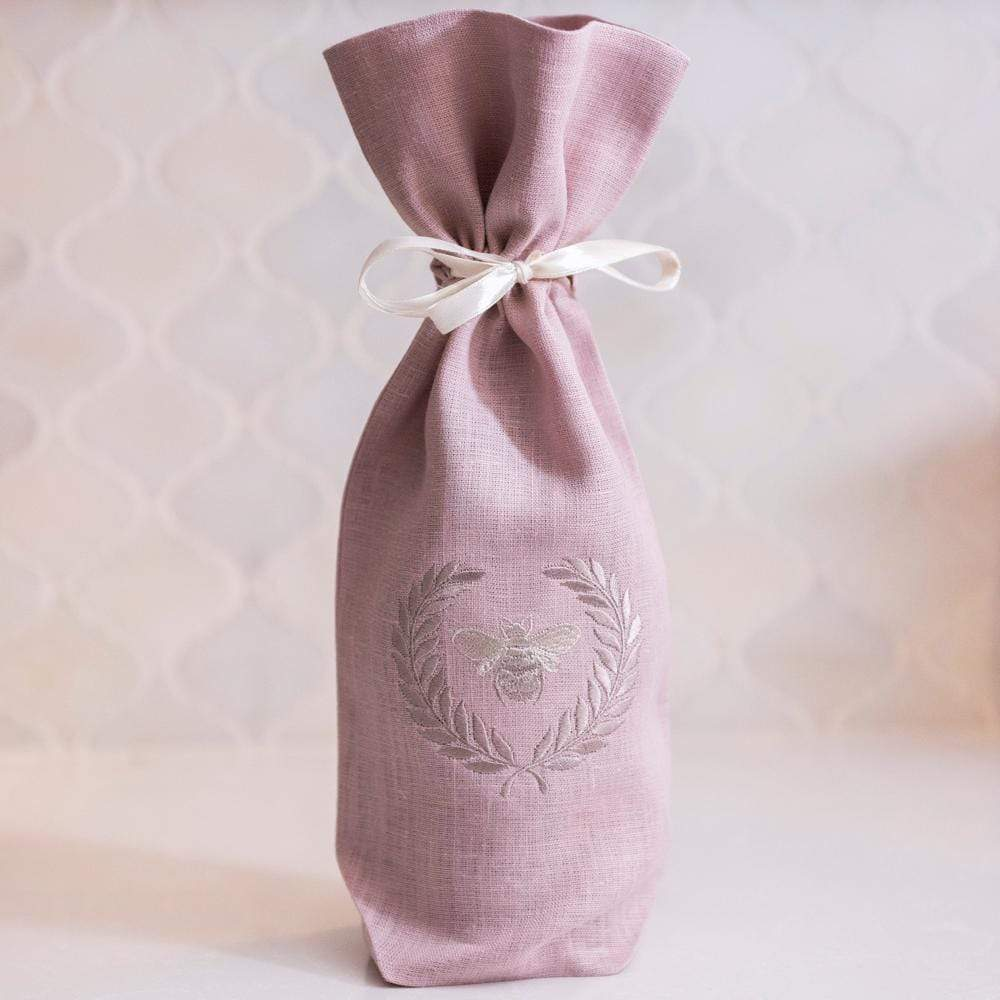 Crown Linen Designs Wine Bags Dusty Pink Bumble Bee Wine Bag
