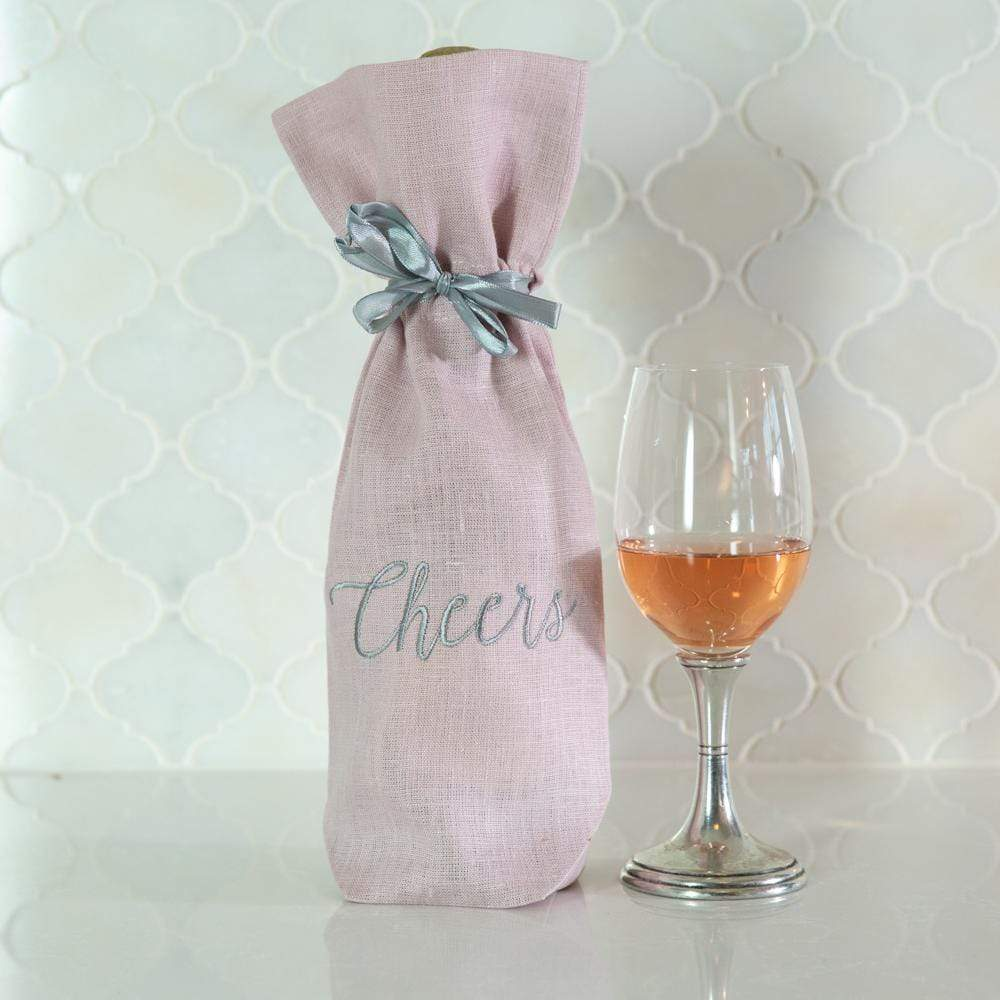 Crown Linen Designs Wine Bags Dusty Pink Cheers Wine Bag