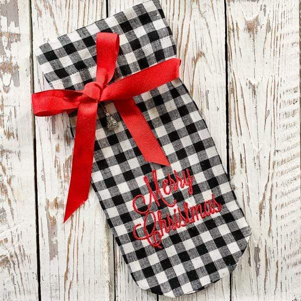 Crown Linen Designs Wine Bags Merry Christmas Checkered Wine Bag