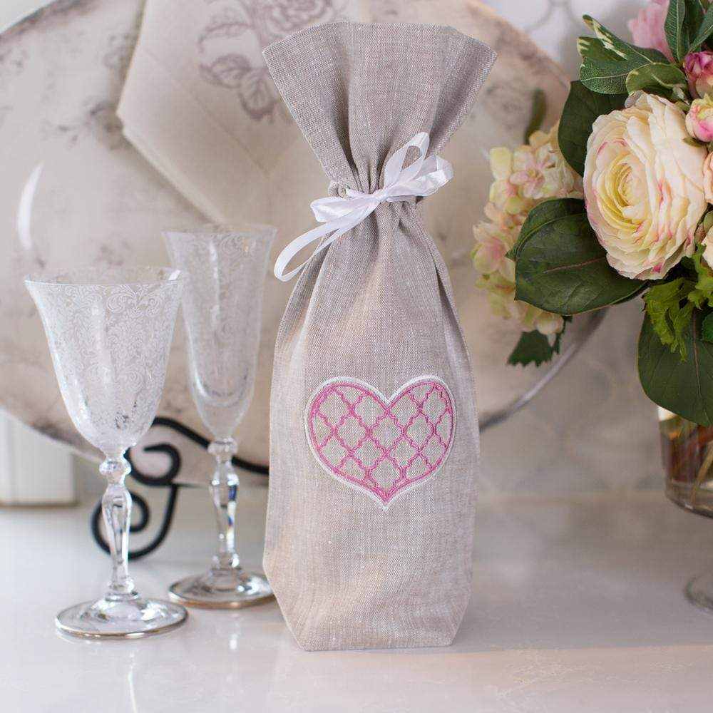 Crown Linen Designs Wine Bags Trellis Heart Wine Bag