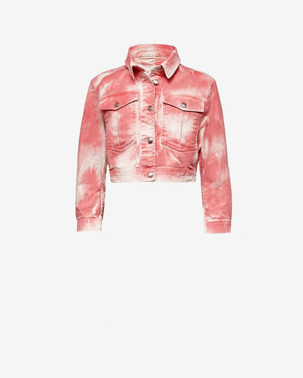!!! Pink Tie-Dye Cropped Denim Jacket