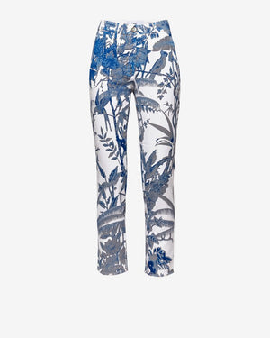 Tropical Denim Chino Capris