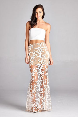 Swirl Of Elegance  Embroidered Two-Piece Set