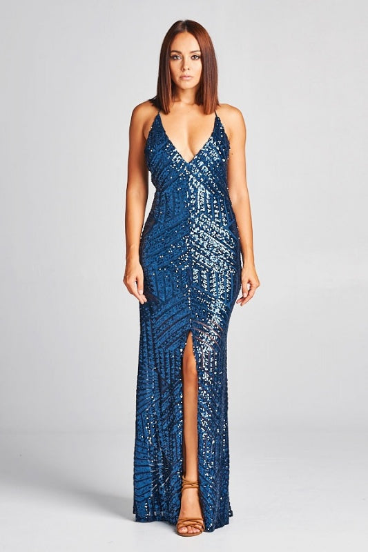 Stepping Out Sequin Slit Gown