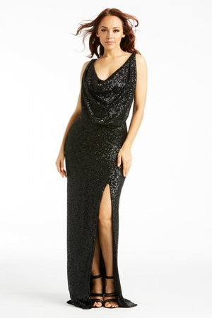 Classic Glam Sequin Halter Slit Maxi Dress