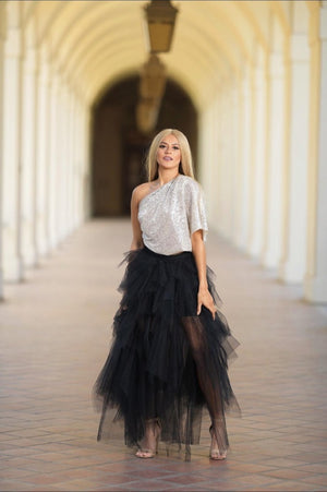 Pure Happiness Tulle Slit Maxi Skirt