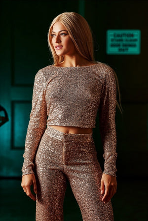Up All Night Sequin Crop Top