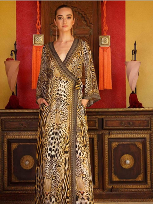 BLACK AND GOLD CHEETAH PRINT WRAP DRESS