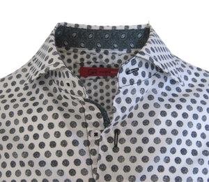 Men's Black & White Dot Button Up