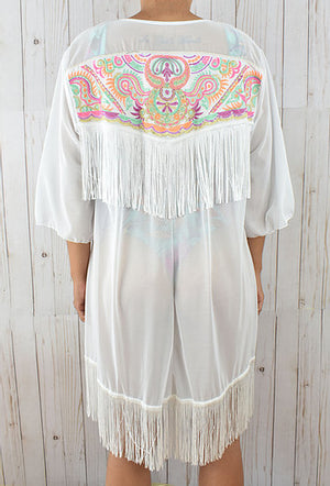 Long White Embroidered Cover-Up With Tassels