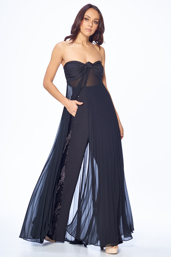Bandeau Pleated Chiffon Dress