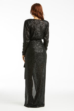Dynasty Sequins Maxi Wrap Dress