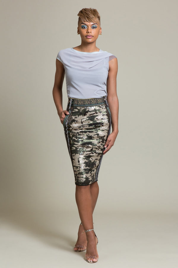 Sequin Camo Pencil Skirt
