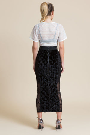 Mascara Spotted Velvet Hobble Skirt