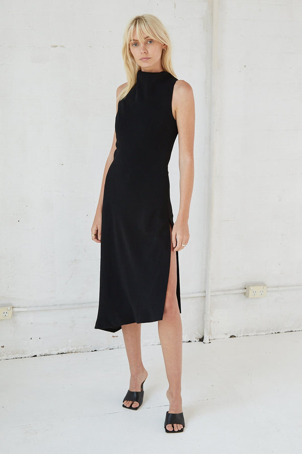 Black Rising Midi Dress
