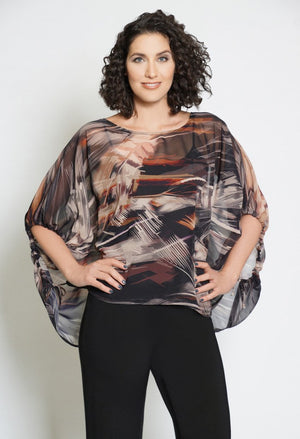 Abstract Fall Sheer Top
