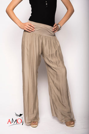 SILK SLIT PANTS