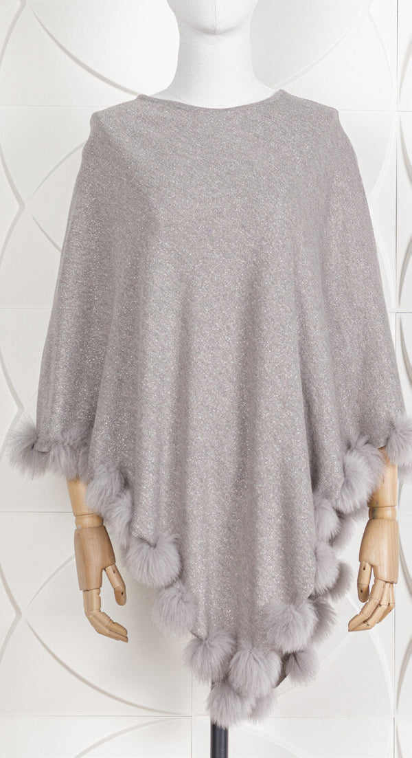 Fox Trimmed Metallic Knit Poncho