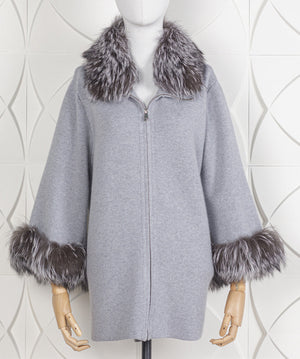 Zippered Cardigan With Detachable Silver Fox Collar & Cuffs