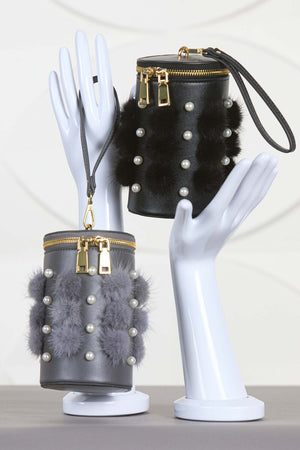 Mink and Pearls Cylinder Bag