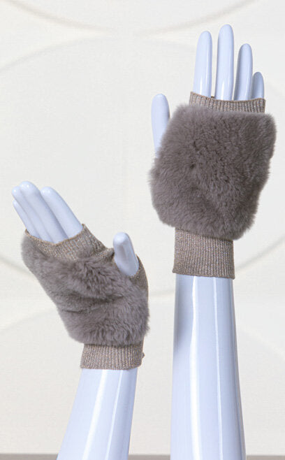 Metallic Knit Rex Rabbit Fingerless Gloves