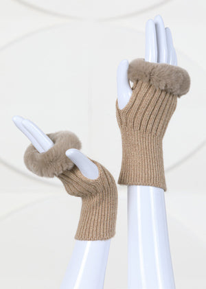 Knit Fingerless Gloves Trimmed With Rex Rabbit