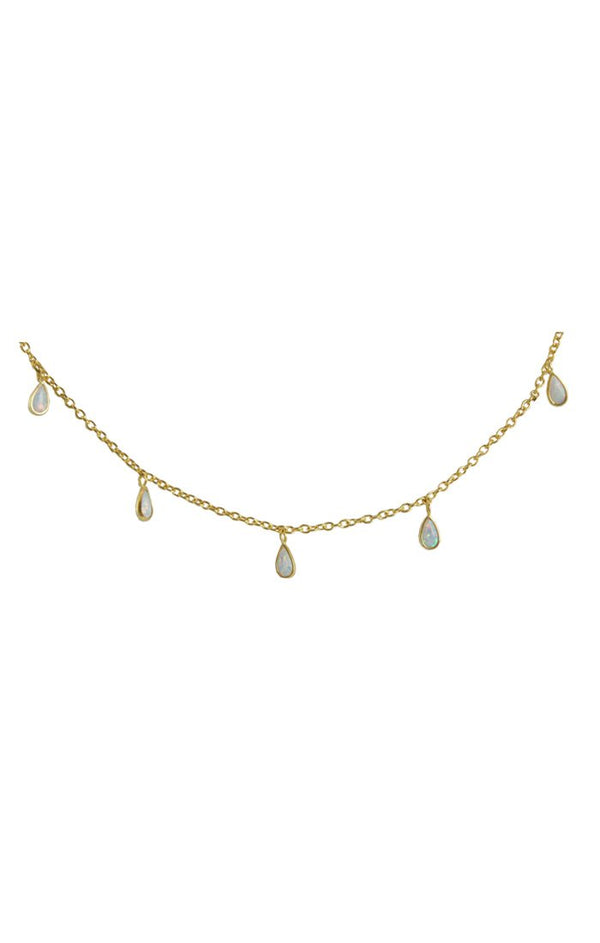 White Opal Drops Necklace