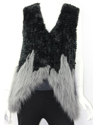 !!! Faux Fur Black & Grey Vest
