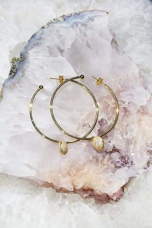 PAVÉ CIRCLE 14K Gold Vermeil Hoop Earrings
