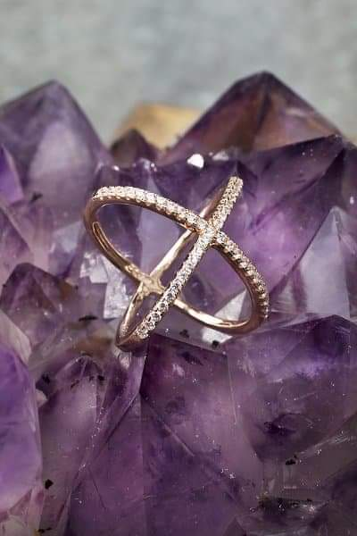 X Ring in 14K Rose Gold Vermeil