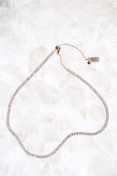SHIMMER Tennis Necklace in 14K Rose Gold Vermeil