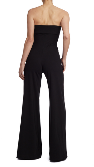 Black Strapless Wide Leg Catsuit
