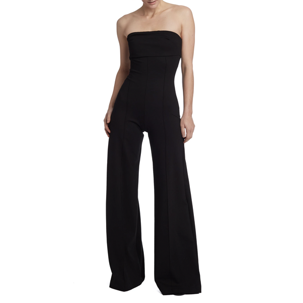 !!! Black Strapless Wide Leg Catsuit