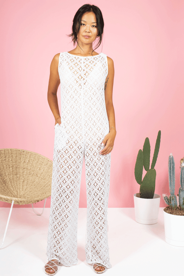White Lace Roomy Jumpsuit