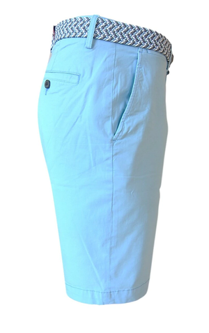 Men's Aqua Blue Chino Shorts With Stretch