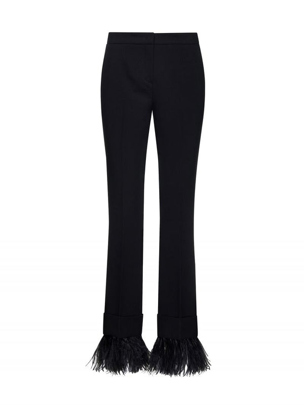 Black Flared Trousers With Feathers