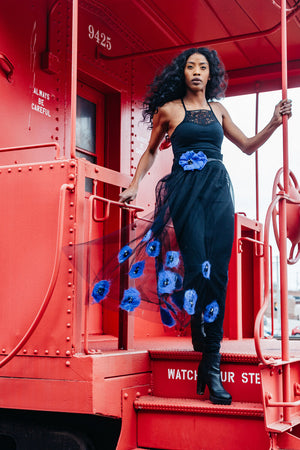 Blue Poppies Skirt