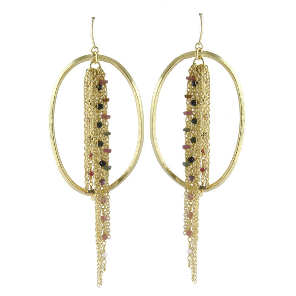 !!! RUBY BEADED FRINGE AND LOOP EARRINGS