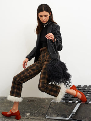 Checked Technical Fabric Trousers With Feathers