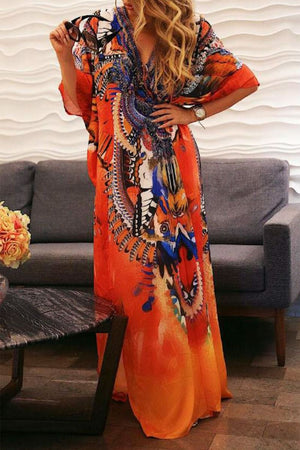 Signal Orange Kafta Dress with Animal Prints