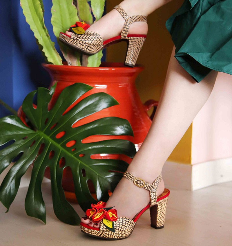 Ekune Red High Heel Sandals