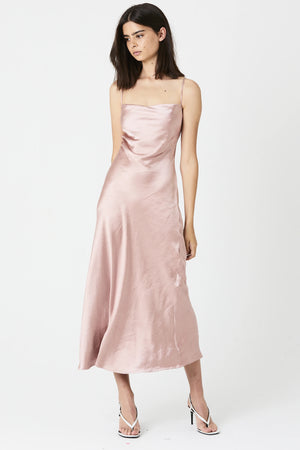 Rose Laced Back Bias Slip Dress