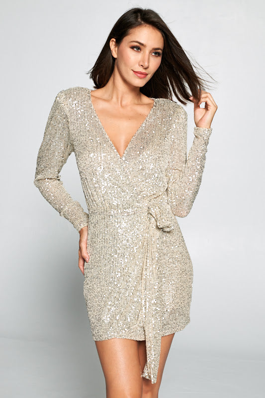Force Of Fashion Sequin Mini Wrap Dress