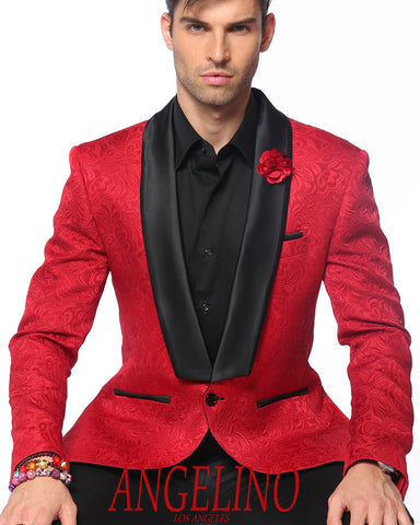 red shawl lapel suit