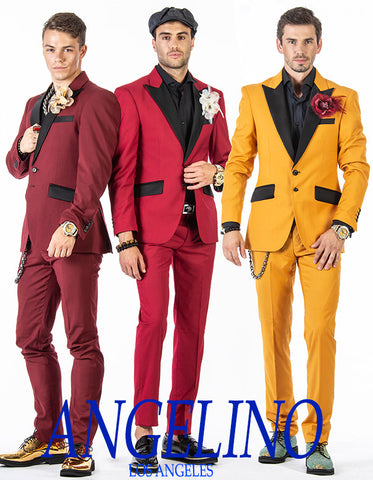 mens fashion suits, red, gold, burgundy