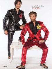 Prom suits 2019 red suit and shiny black suit on models