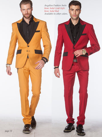 red and gold prom tuxedo